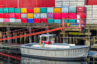 Fishing Boat, Containers, Burrard Inlet, Vancouver, British Columbia, Canada, Summer