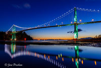 Lions Gate Bridge, Sunset, Burrard Inlet, Reflection, Vancouver, North Vancouver, West Vancouver, British Columbia, Canada, Summer