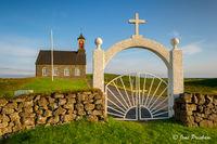 church, gate, cross, Reykjanes peninsula, Iceland, summer