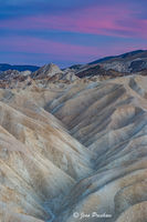 Zabriskie Point, Pink Clouds, Sunrise, Amargosa Range, Furnace Creek Lake, Erosional Landscape, Death Valley National Park, California, USA