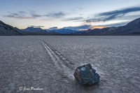 Strolling Stone, Playa, Racetrack, Sunrise, Death Valley National Park, California, USA