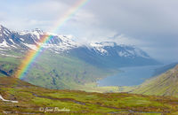 Mjoifjordur, fjord, rainbow, rain shower, East Iceland, summer