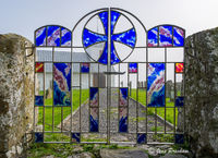 church gate, stained glass, parish, Olavskirkjan, St Olav, Kirkjubour, Streamy, Torshavn area, Faroe Islands, summer