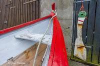 fishing boat, boathouse, Argir, Torshavn, Streymoy, Faroe Islands, North Atlantic Ocean, summer
