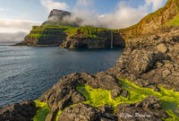 green algae, waterfall, village, Gasadalur, Vagar, Faroe Islands, North Atlantic ocean, summer