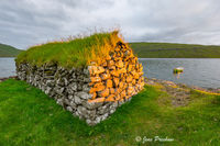 boathouse, Leitisvatn, Sorvagsvatn, Vatnio, inland lake, Vagar, Faroe Islands, Summer