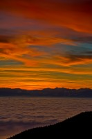 Inversion Layer, Sunset, Georgia Strait, Cypress Provincial Park, Vancouver Island, British Columbia, Canada, Winter