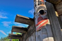 Haida Longhouse, Museum of Anthropology, University of British Columbia, Vancouver, British Columbia, Canada, Summer
