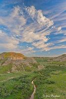 Badlands, Clouds, Dinosaur Provincial Park, UNESCO World Heritage Site, Alberta, Canada, Summer