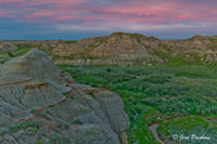 Sunset, Pink Clouds, Badlands, Valley, Dinosaur Provincial Park, UNESCO World Heritage Site, Alberta, Canada, Summer