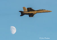 USN F/A - 18 Super Hornet, Abbotsford, British Columbia, Canada, Moon, Dusk, Summer, Sunset