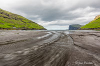 black sand beach, Tjornuvik, Stremoy, Faroe Islands, summer
