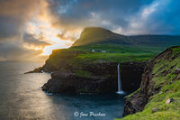 sunset, storm, clouds, waterfall, Gasadalur, Vagar, Faroe Islands, North Atlantic ocean, summer