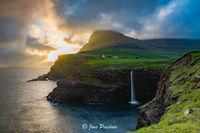 sunset, storm, clouds, waterfall, Gasadalur, Vagar, Faroe Islands, North Atlantic ocean, summer