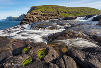 Bosdalafossur, waterfall, Leitisvatn, Sorvagsvatn, Vatnio, lake, Vagar, Faroe Islands, North Atlantic ocean, summer