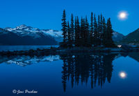 Garibaldi Lake, Battleship Islands, Garibaldi Provincial Park, British Columbia, moonrise, summer