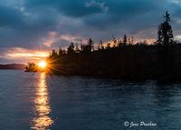 Sunrise, Starburst, Johnstone Strait, Telegraph Cove, Pacific Ocean, Vancouver Island, British Columbia, Canada, Spring