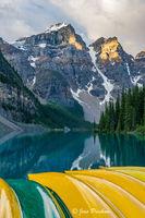 canoe, Mount Bowlen, Mount Tonsa, Moraine lake, sunrise, Valley of the Ten Peaks, Banff National Park, Alberta, Canada, summer
