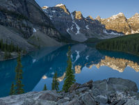 Moraine Lake, Turquoise, Valley of the Ten Peaks, Lake Louise, Banff National Park, Alberta, Canada, Summer