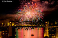 Fireworks, Burrard Street Bridge, False Creek, Vancouver, British Columbia, Canada, Summer