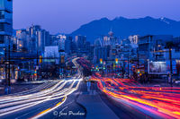 blue hour, rush hour, traffic, cars, light trails, downtown Vancouver, Mount Pleasant, Fairview Slopes, night, headlights, taillights, Fall, North Shore mountains, Broadway Avenue, Cambie Street