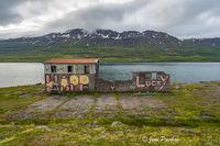 Seyðisfjordur, Eastfjords, Iceland, Abandoned Farmhouse, Graffiti, Summer, Mountains