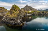 Arnarstapi, Hellnar, Rock Formations, Harbour, Stapafell, Fellskross, Snæfellsjökull, Snæfellsnes Peninsula, West Iceland, Summer, Sunrise