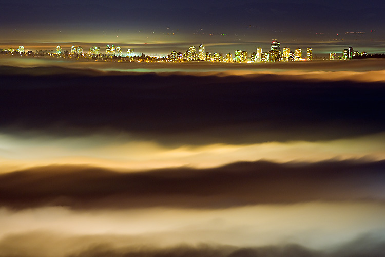 Night,Vancouver,Fog,Stanley Park,Downtown,British Columbia,Canada,Pacific Ocean, photo