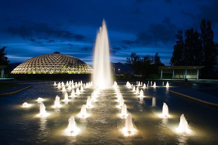 Fountains,Bloedel Floral Conservatory,Vancouver Park Board,Queen Elizabeth Park,Vancouver,British Columbia,Canada,Night,Summer,Travel, photo