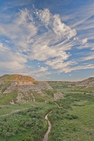 Badlands, Clouds, Dinosaur Provincial Park, UNESCO World Heritage Site, Alberta, Canada, Summer, photo