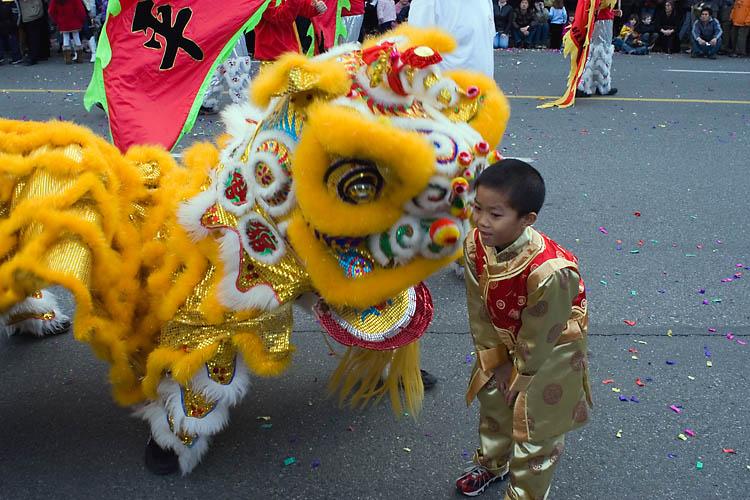 Lion Dancers,Boy,Chinese New Year Celebration,Parade,Chinatown,Vancouver,British Columbia,Canada,Travel, photo