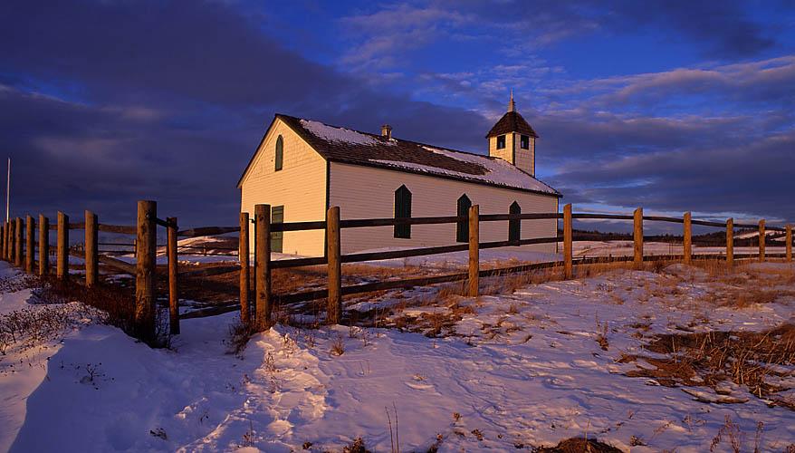 Historic Church,Morley Flats,Alberta,Canada,Sunrise,Winter,Snow,Travel, photo