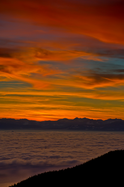 Inversion Layer, Sunset, Georgia Strait, Cypress Provincial Park, Vancouver Island, British Columbia, Canada, Winter , photo