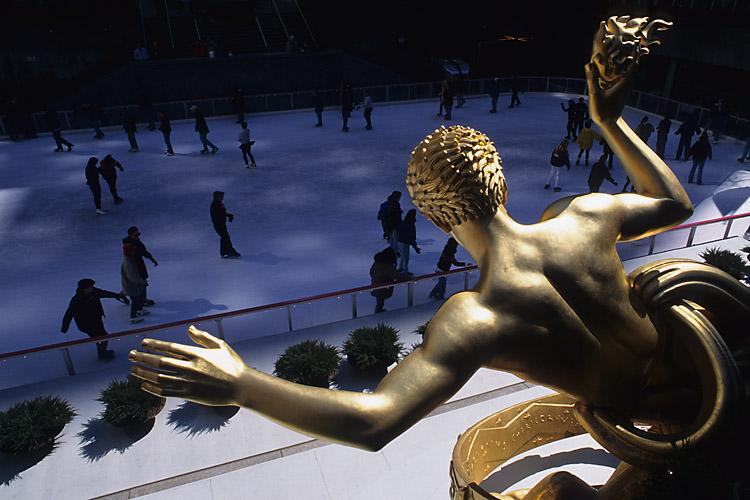 Ice Skating at Rockefeller Plaza in Manhattan, New York