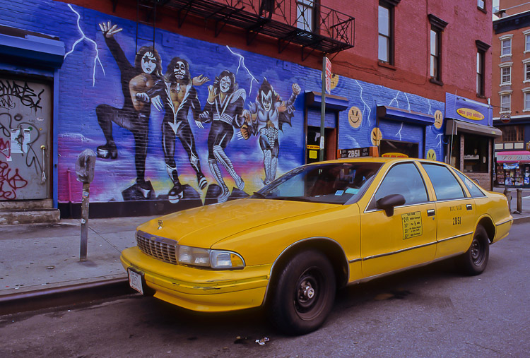 KISS Mural, Taxi, Manhattan, New York, USA, Travel, Summer, photo