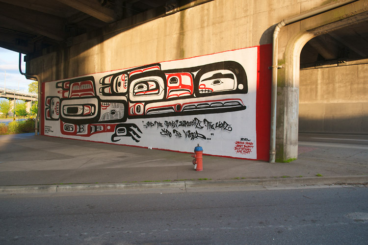 Raven,First Nations Mural,Sunset,Granville Street Bridge,Granville Island,Vancouver,British Columbia,Canada,Summer,Travel, photo