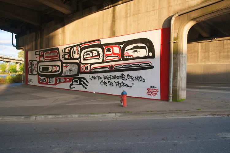 Raven,First Nations Mural,Sunset,Granville Street Bridge,Granville Island,Vancouver,British Columbia,Canada,Summer,Travel, photo