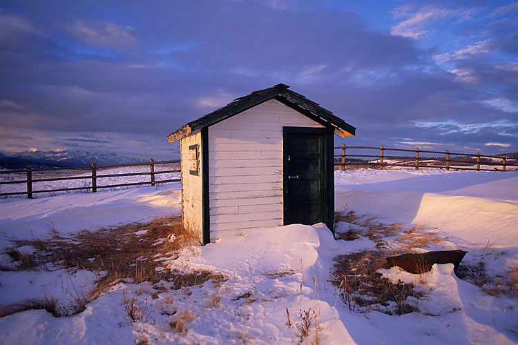 Shed during Winter sunrise at Morley Flats, Alberta.