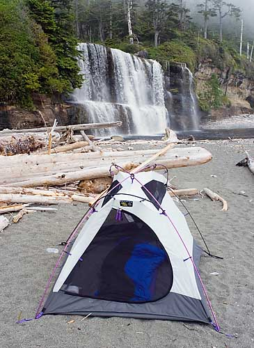 Campsite At Tsusiat Falls, West Coast Trail, Pacific Rim National Park, Vancouver Island, British Columbia, Canada, Summer