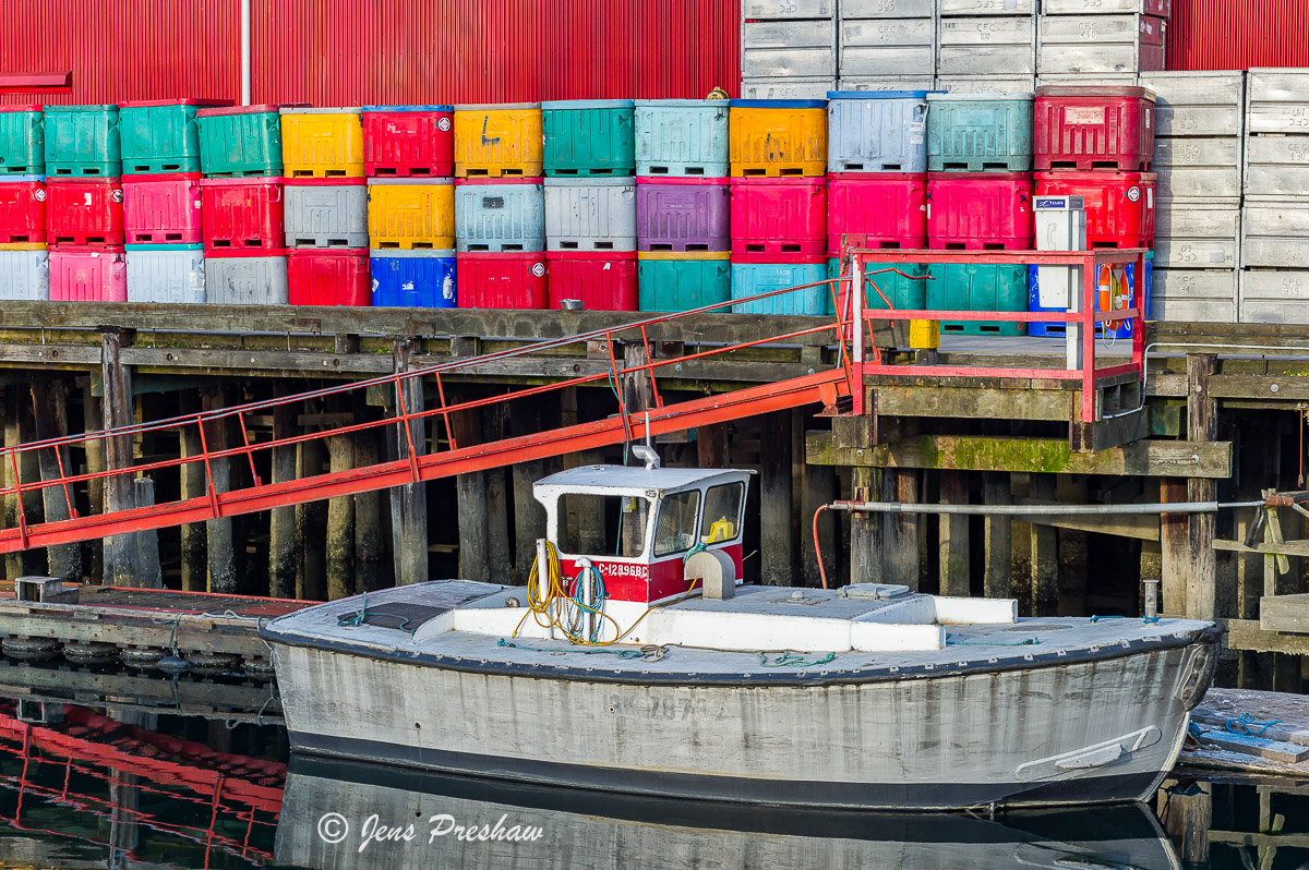 Fishing Boat, Containers, Burrard Inlet, Vancouver, British Columbia, Canada, Summer, photo