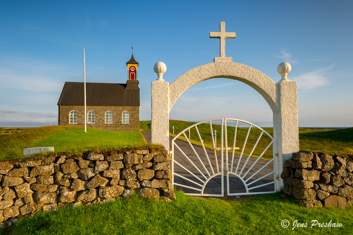 church, gate, cross, Reykjanes peninsula, Iceland, summer, photo