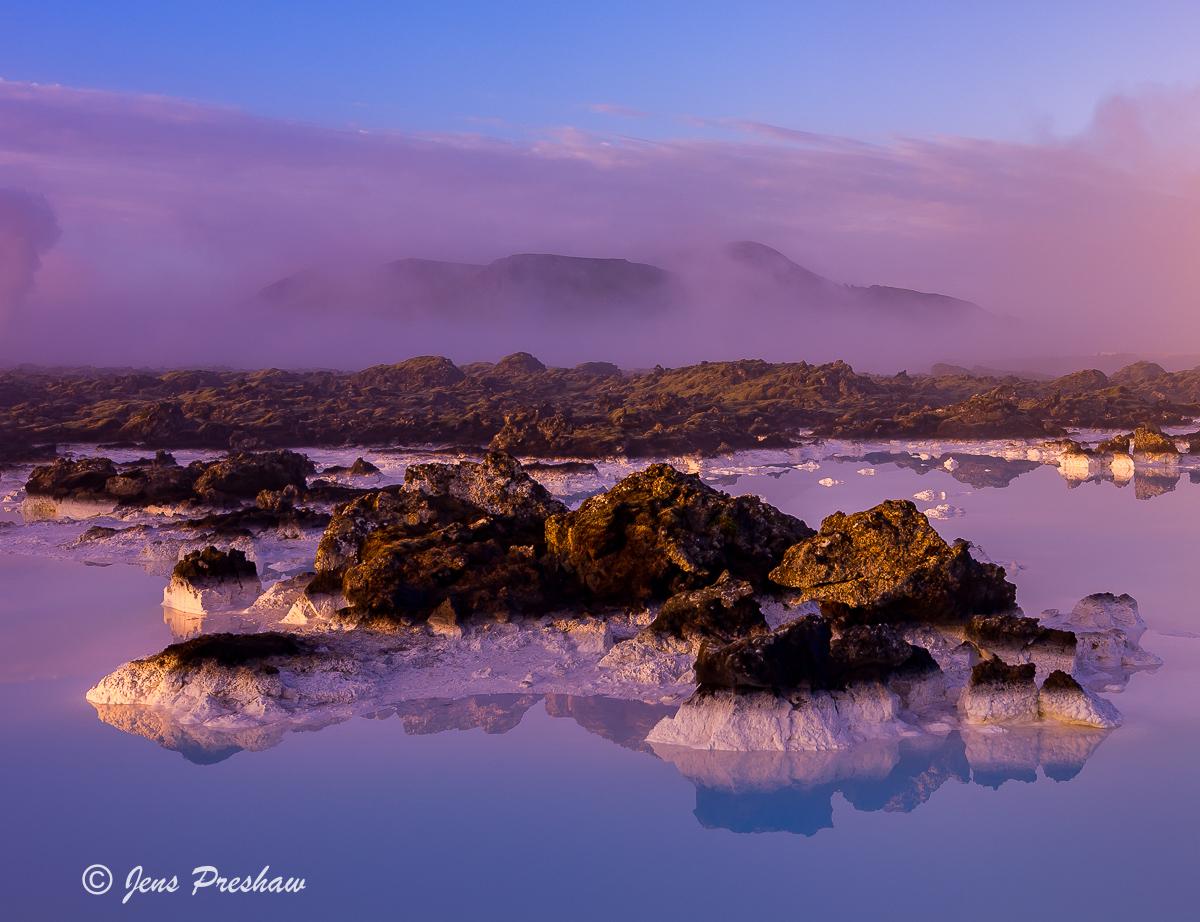Blue Lagoon, Reykjanes Peninsula, Southwest Iceland, lava field, sunrise, Summer, photo