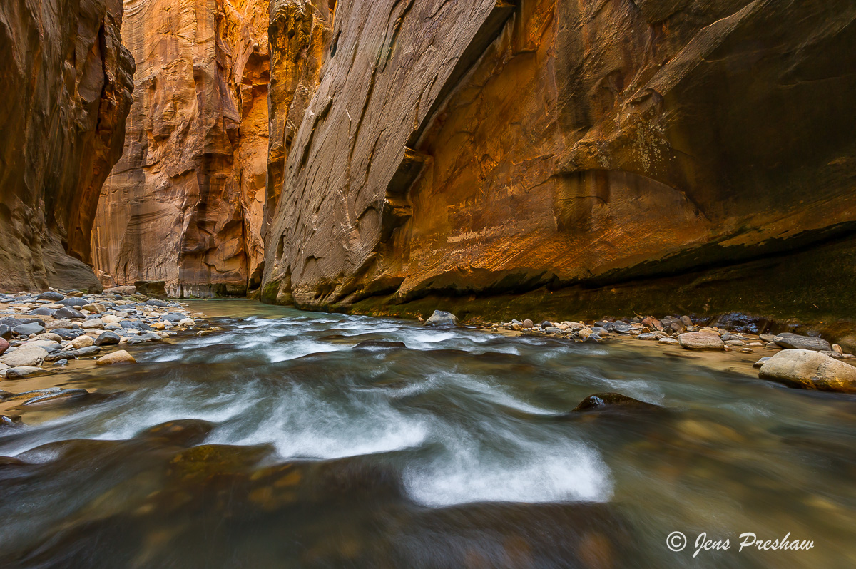 Red Sandstone, Virgin River, Canyoneering, Zion National Park, Utah, USA, Spring , photo