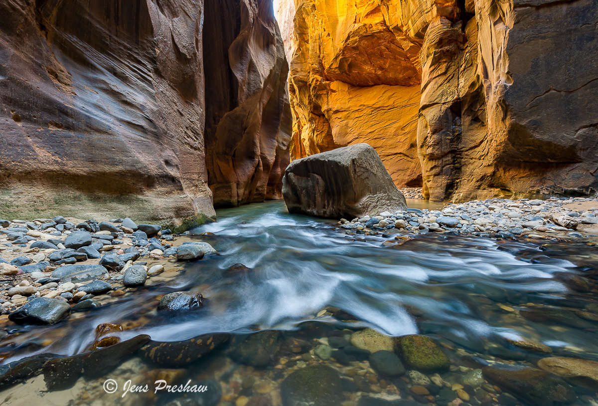 Red Sandstone, The Narrows, Wall Street, Virgin River, Zion National Park, Utah, USA, Spring, photo