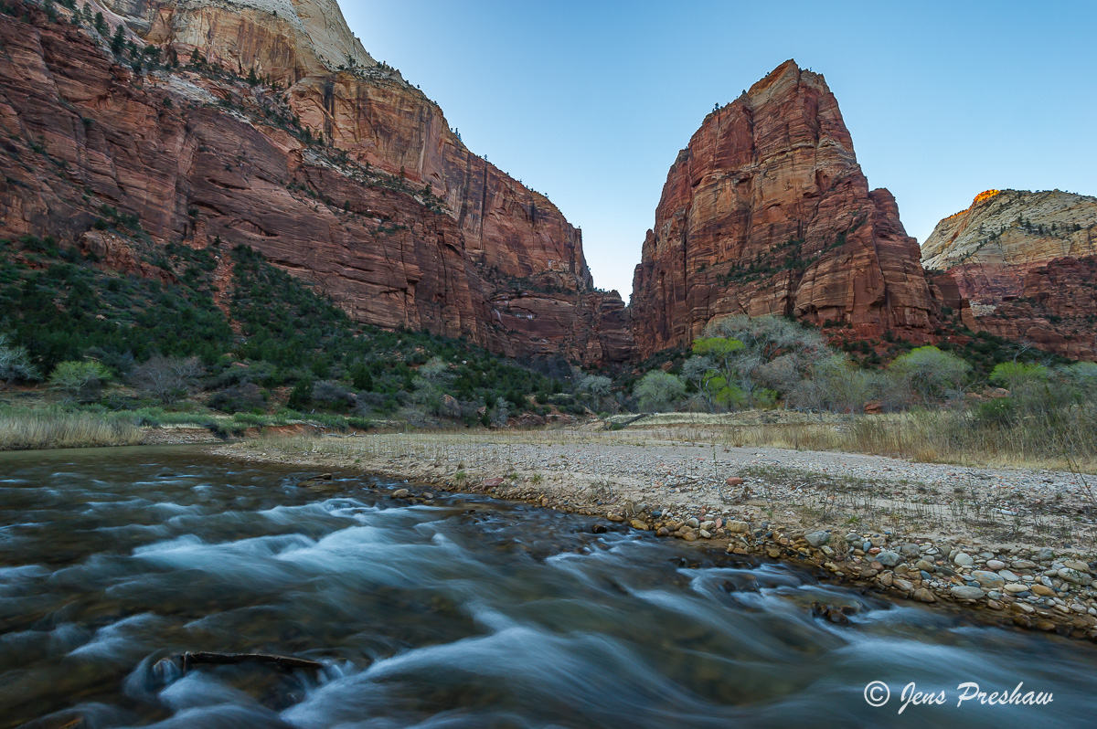 Virgin River, Angels Landing, Zion National Park, Utah, Cottonwood Trees, Valley, Spring, USA, photo