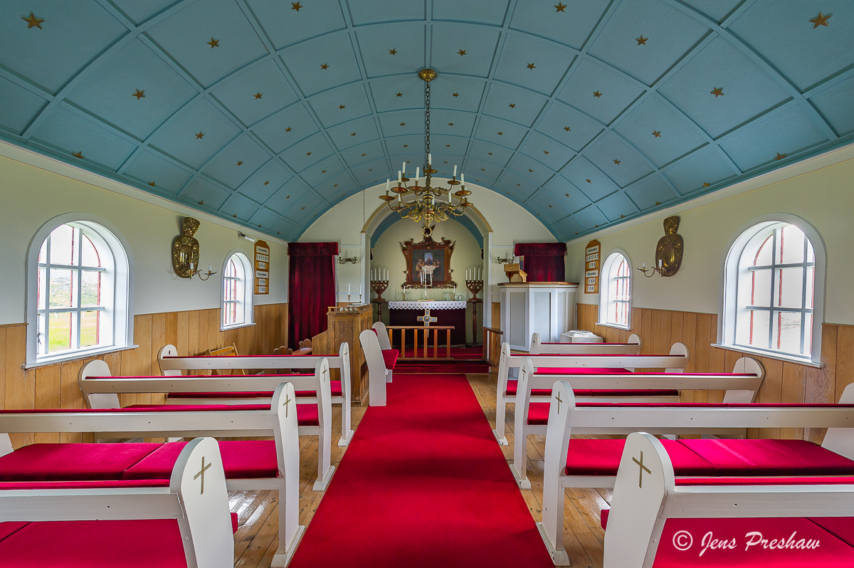 Pews, Church, Hellnar, ancient fishing village, Snaefellsnes Peninsula, West Iceland, Summer, photo