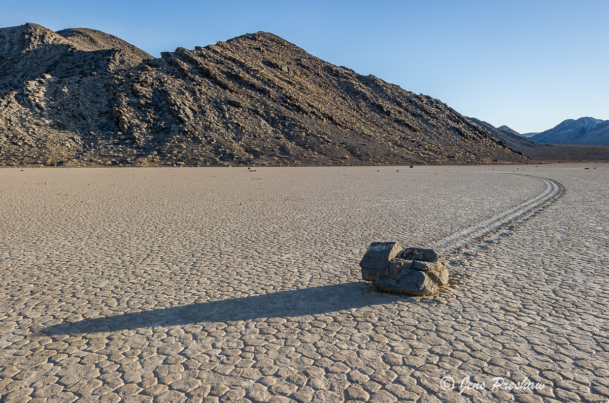Shadow, Strolling Stone, Racetrack, Playa, Mountains, Death Valley National Park, California, USA, photo