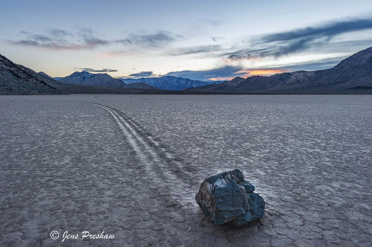 Strolling Stone, Playa, Racetrack, Sunrise, Death Valley National Park, California, USA, photo
