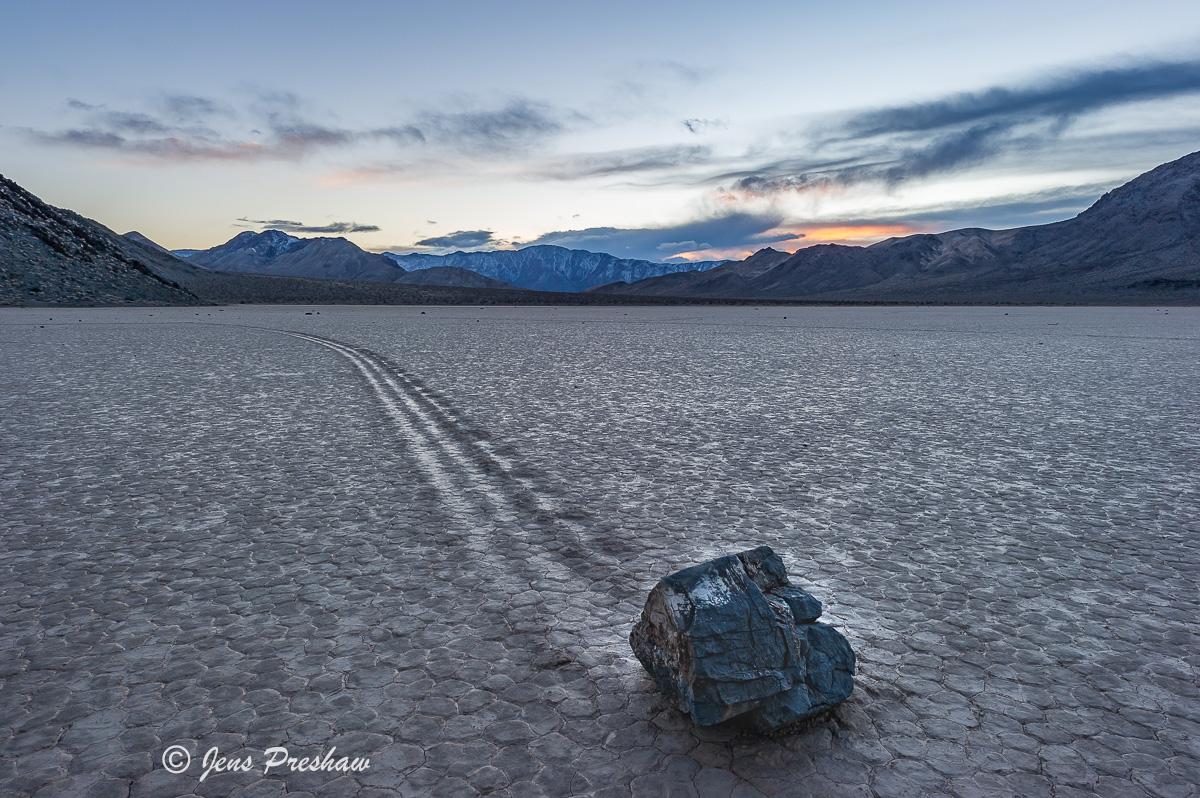 Strolling Stone, Playa, Racetrack, Sunrise, Death Valley National Park, California, USA, photo