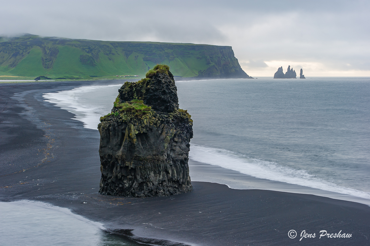 Sea Stacks, Beach, Black Volcanic Sand, Dyrholaey, Reynisdrangur, South Iceland, Atlantic Ocean, Summer, photo